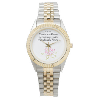 Water Lily Wedding Souvenirs Keepsakes Giveaways Wrist Watch