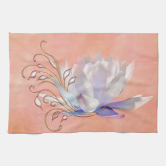 Water Lily with Decorative Swirls Hand Towels