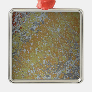 Water Marbling - Cosmos Silver-Colored Square Ornament
