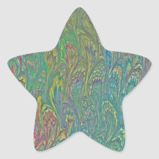 Water Marbling - Tropical Frog Feet Star Sticker