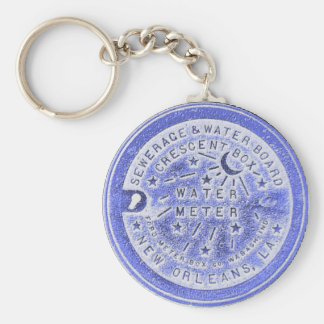 Water Meter Lid in Blue, New Orleans Keychain
