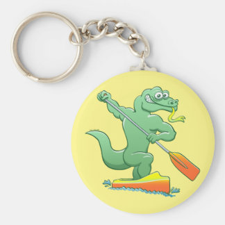 Water monitor competing in a canoe sprint event basic round button keychain