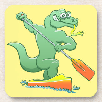 Water monitor competing in a canoe sprint event drink coaster