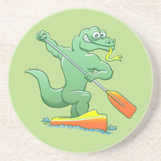 Water monitor competing in a canoe sprint event drink coasters