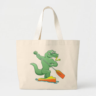 Water monitor competing in a canoe sprint event large tote bag