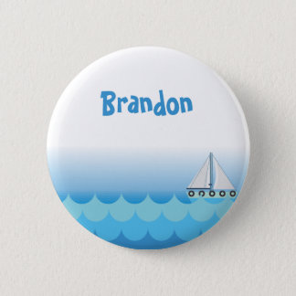 Water Ocean Sea Boat Sailing Baby Boy Name 2 Inch Round Button