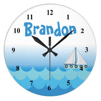 Water Ocean Sea Boat Sailing Baby Boy Name Large Clock