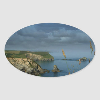 Water Over Sea Cliffs Oval Sticker