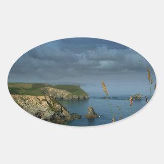 Water Over Sea Cliffs Oval Sticker
