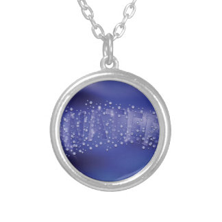 water pattern silver plated necklace