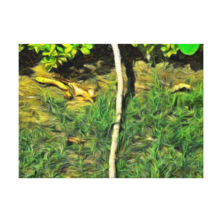Water pipe in a garden canvas print