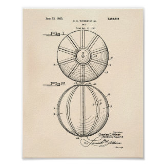 Water Polo Ball 1923 Patent Art Old Peper Poster