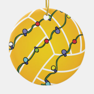 Water Polo Ball With Lights Holiday Oranament Round Ceramic Ornament