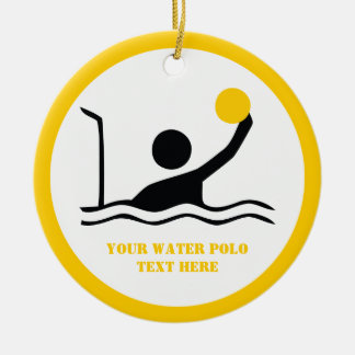 Water polo player black silhouette custom round ceramic ornament