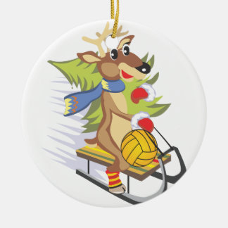 Water Polo Reindeer with ball ornament
