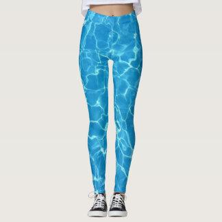 Water Pool Ocean Aqua Blue Leggings