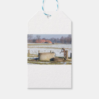 Water pump and well in winter snow landscape pack of gift tags