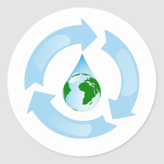 Water Recycling Stickers Round Sticker