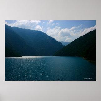 Water reservoir lake in Montenegro Poster