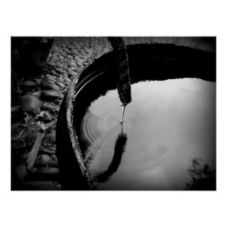 Water Rings Black And White Poster