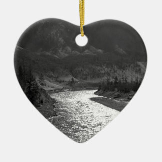 Water River Shines Under Valley Ceramic Heart Ornament