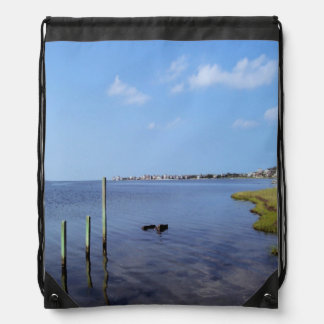 Water Scene - Wooden Post Markers Drawstring Bag