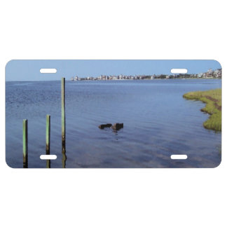 Water Scene - Wooden Post Markers License Plate