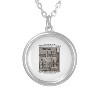 Water Screw Perpetual Motion Machine Woodcut Silver Plated Necklace