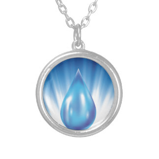 water silver plated necklace