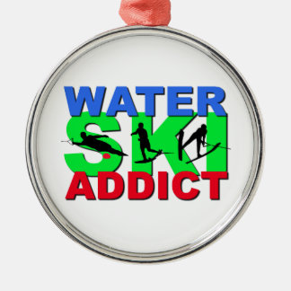 Water Ski Addict Metal Ornament