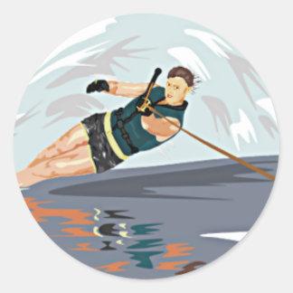 Water Ski Print Classic Round Sticker