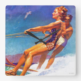 Water Skier by McClelland Barclay Square Wall Clock