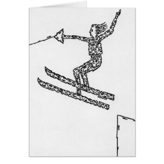 Water Skier, Made of Faces Card