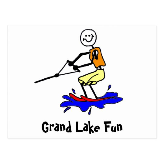 Water Skiing at Grand Lake Postcard