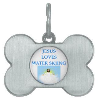 water skiing pet tag