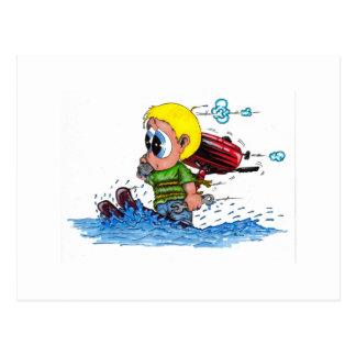 water skiing postcard