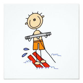 Water Skiing Stick Figure Card