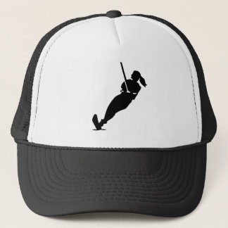 Water skiing woman trucker hat
