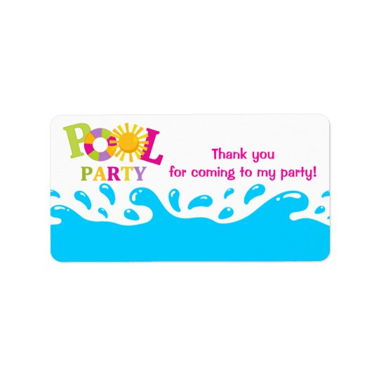 Water Splash Pool Party Girl Favour Tag Label