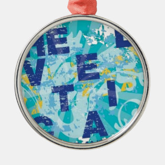 Water splash postcard Silver-Colored round ornament