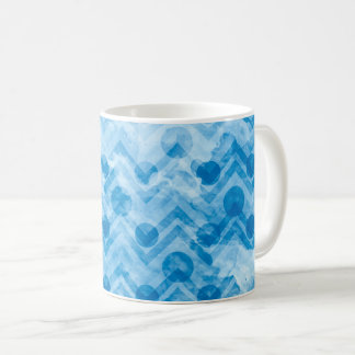 Water Stained Aqua Blue Polka Dots and Chevrons Coffee Mug