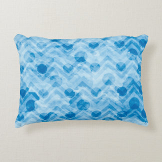 Water Stained Aqua Blue Polka Dots and Chevrons Decorative Pillow