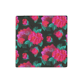 Water Stained Roses Stone Magnet