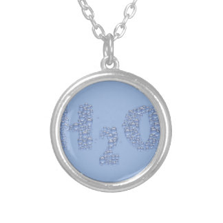 water text silver plated necklace