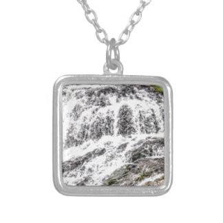 water texture scene silver plated necklace