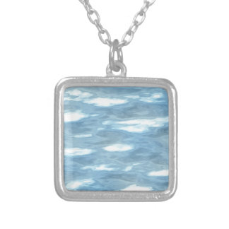 Water texture silver plated necklace