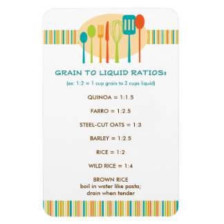 Water to Grain Ratio Handy Kitchen Guide Magnet