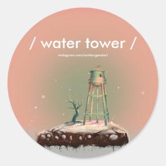 Water Tower Glossy Round Sticker