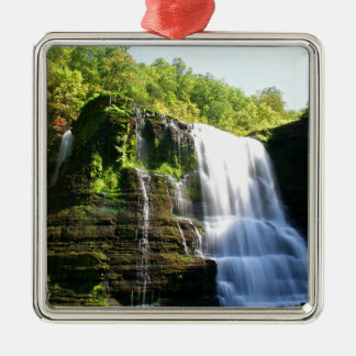 Water Under Growth Falls Silver-Colored Square Ornament
