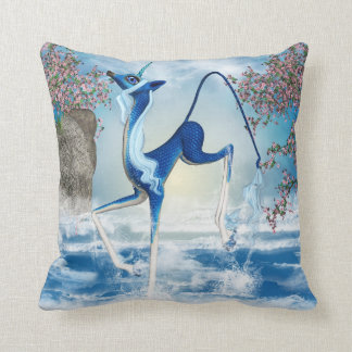 Water Unicorn Kirin Fantasy Art Throw Pillow